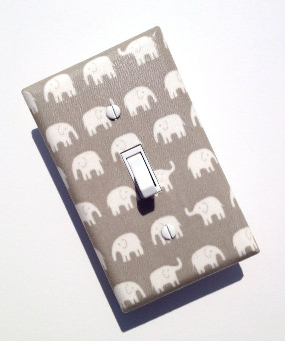 Gray Elephant Light Switch Plate / Kawaii Baby by SSKDesigns, $9.00- bought for the boys bathroom CHECK