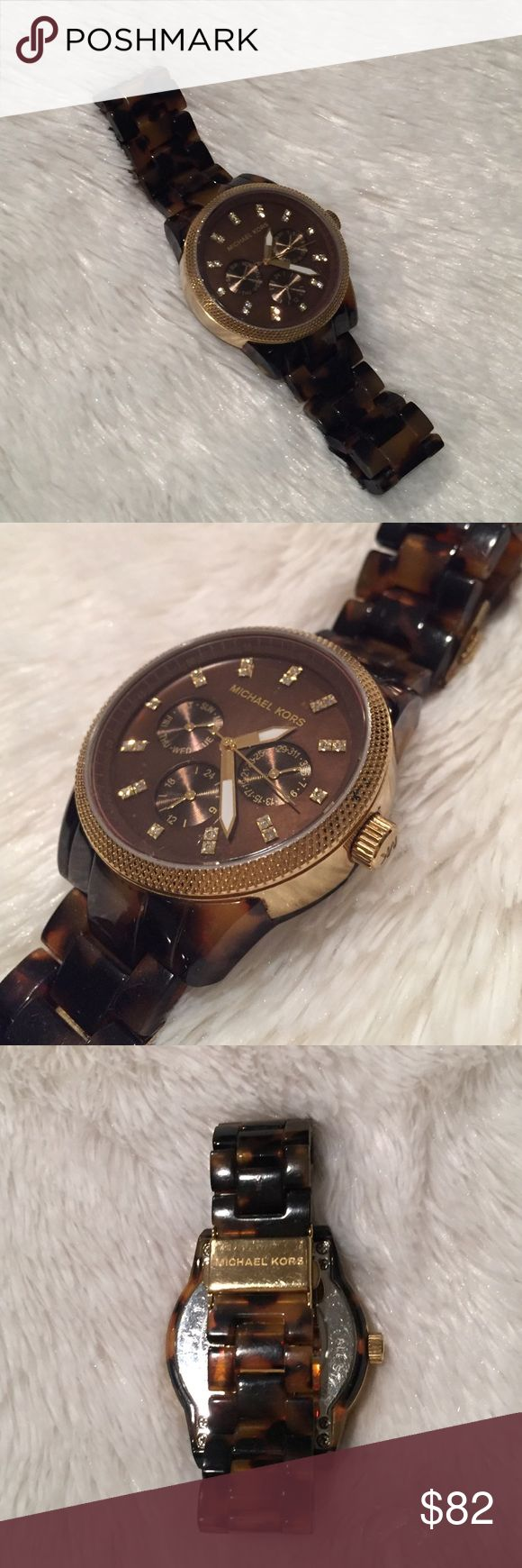 Michael Kors Tortoise Watch Michael Kors watch with tortoise band and gold rim. Good condition, only worn a few times. Michael Kors Accessories Watches