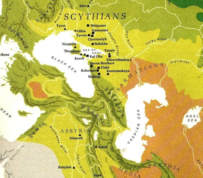 Map of the Scythian Empire, 4th century BC
