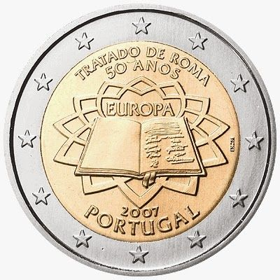 2 euro coins Portugal 2007, 50th anniversary of the Treaty of Rome|2 Euro Commemorative Coins