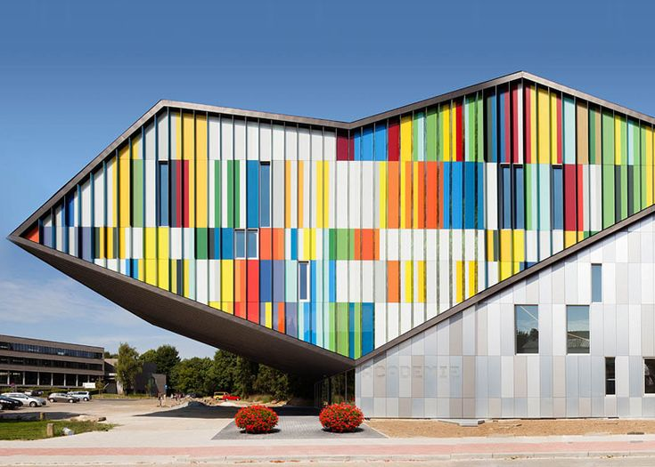 Designed by Spanish architectCarlos Arroyo, theAcademie MWD is a school of music, theatre and dance at theWestrand Cultural Centre, which is located within a suburban neighbourhood inDilbeek, outside Brussels.