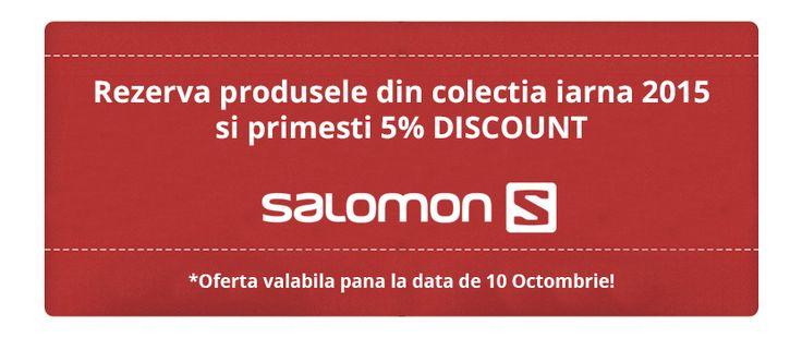 SALOMON iti ofera 5% DISCOUNT daca rezervi orice produs din colectia de iarna 2016 pana in data de 10 Octombrie.  http://www.snowsports.ro/
