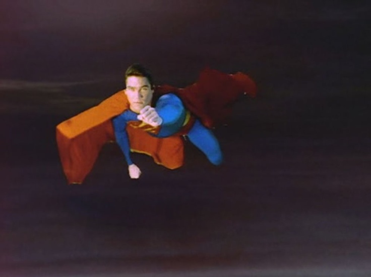 """By WB, Siegel & Shuster's Superman (Dean Cain) season 1 opening still in """"Lois & Clark: The New Adventures of Superman"""" (1993-1997)"""