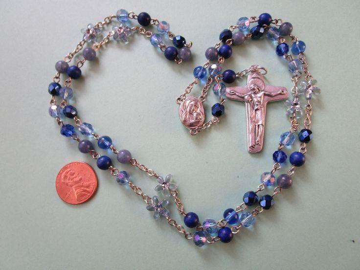 Seven Decade Rosary Chaplet of the 7 Sorrows of Mary, OOAK Blue Rosary Art, Catholic Religious Handmade Gift by aRosaryGarden on Etsy