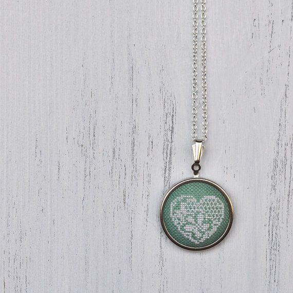 Mint Green Lace Necklace Sage Green Seafoam Aqua Pendant Pastel Wedding Jewelry Bridesmaids Gift Textile Statement