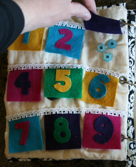 quiet book page idea... numbers with flaps with buttons underneath. So cute, would love to make this for my besties baby (if only I could finish my other projects first lol)