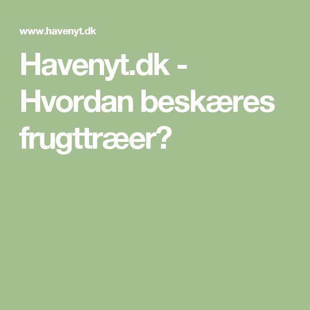 Havenyt.dk - Hvordan beskæres frugttræer?