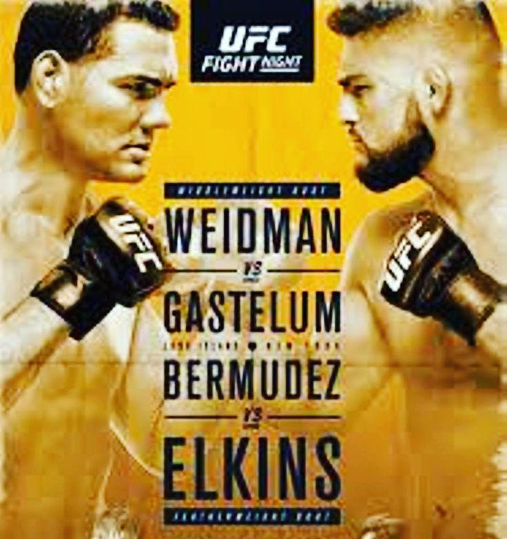 "It's #fight day #mma fans! Check out the lineup for #UFC #FightNight #WeidmanvsGastelum tonight and tell me who you think will win! Don't miss all the fights starting 8pm ET.  Chris Weidman @chrisweidmanufc vs. Kelvin Gastelum @kgastelum Dennis ""The Menace"" Bermudez @MenaceBermudez vs. Darren ""The Damage"" Elkins @darrenelkinsmma Gian Villante @gpvillante vs. Patrick Durkin Cummins @officialdurkin Jimmie ""El Terror"" Rivera @jimmierivera vs. Thomas Almeida @thomasalmeidacb  #ufcfightnight…"