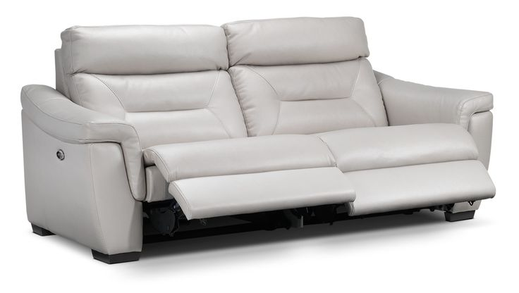 Euro Lounge. Create the look and feel of a chic, modern European living room with the Ralston power reclining sofa in silver-grey. This sofa boasts cool, soothing leather-look upholstery that provides sleek style at a fraction of the cost of real leather. The seat and back cushions are highly supportive and comfortable, as they're filled with foam and fiber. Power reclining lets you fully relax and lounge away whenever you want.