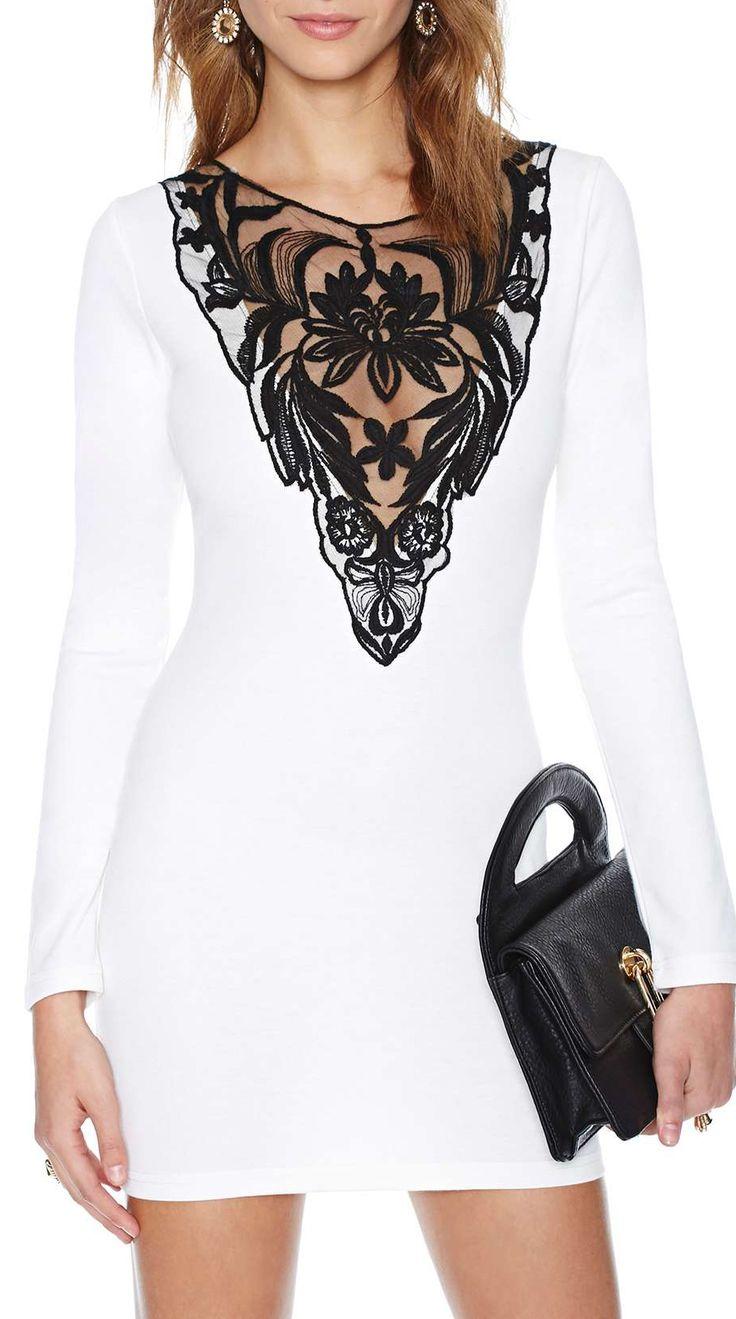 Lace plunge dress
