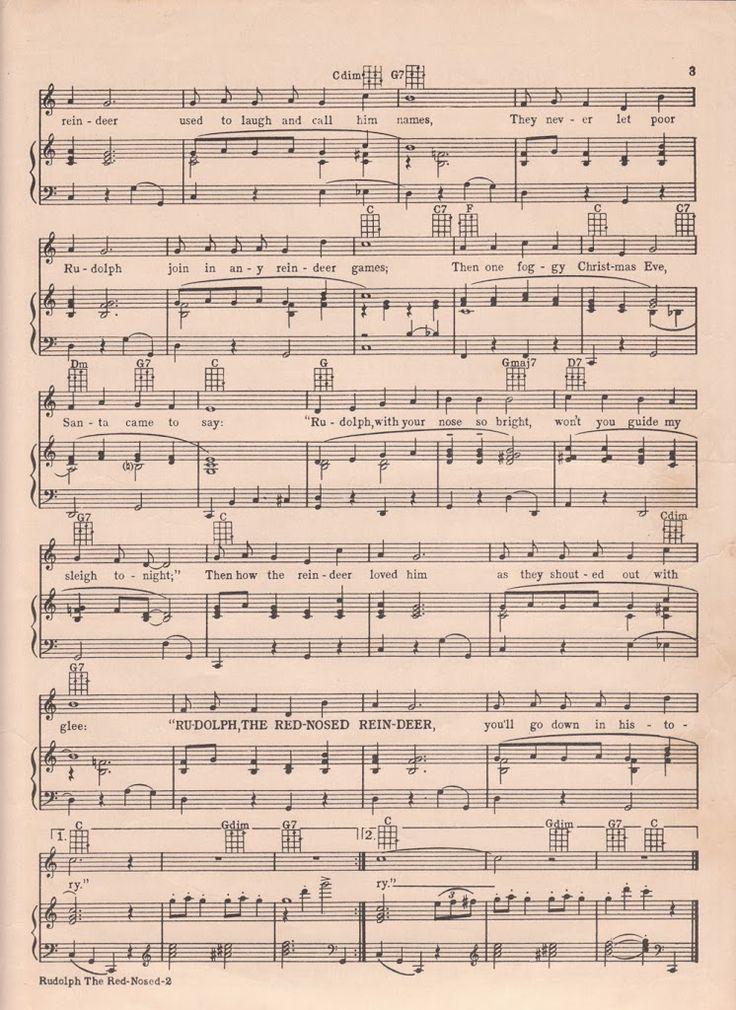 Printable Rudolph Christmas Sheet Music | Christmas sheet music, Sheet music, Vintage sheet music