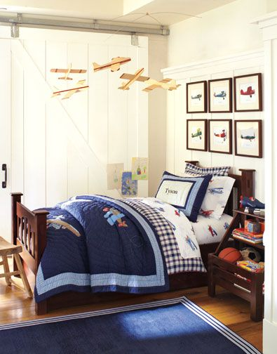 I've always thought that planes hanging overhead in a little boy's room would be very cool!