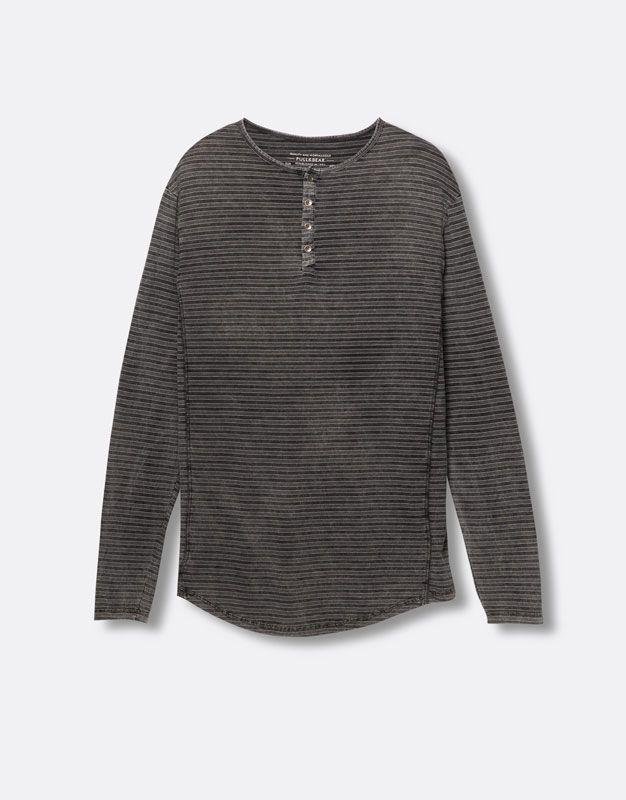 Pull&Bear - homme - t-shirts - t-shirt rayé manches longues - vigoré moyen - 09243520-V2016