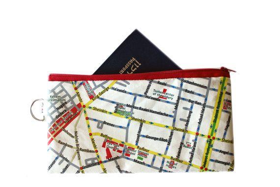 TEL AVIV map travel case by efratul on Etsy, $16.00: Travel Cases, Cases Pouch, Maps Wallets, Maps Travel, Products, Aviv Maps