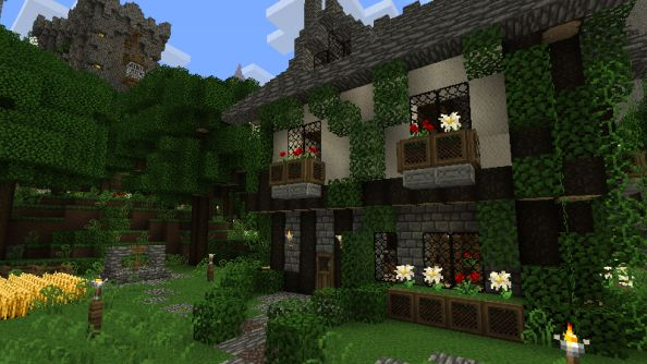 Pretty Minecraft House Png 594 215 334 Pixels Minecraft