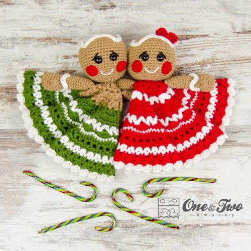 Nut and Meg Gingerbread Security Blanket Crochet Pattern by One and Two Company