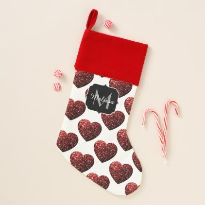 Glamour Red Glitter sparkles Heart Monogram Christmas Stocking - glitter gifts personalize gift ideas unique