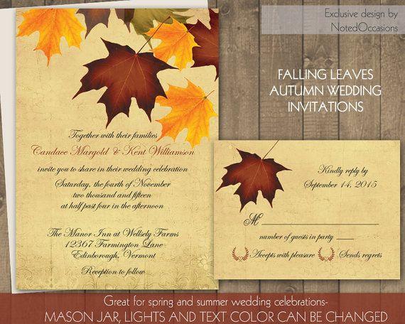 Fall Wedding Invitations Rustic Autumn Leaves Fall Colors - Printable Fall Wedding Invitation DIY Printable For Fall Weddings