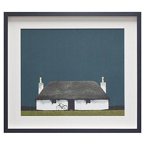 Buy Ron Lawson - Cottage And Bike, Framed Print, 45 x 52cm Online at johnlewis.com