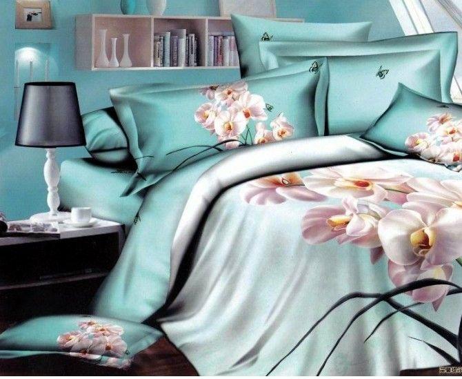 Promotion Discount 3d Cotton Bedding Orchid Lily Flower Print Bedding 4pcs Comforter Set King