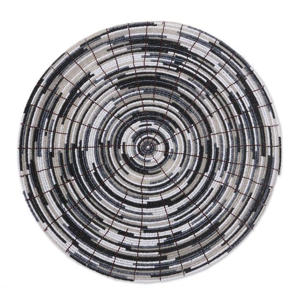 Set of 6 Handcrafted Glass Bead 'Bali Monochrome' Placemats (Indonesia)