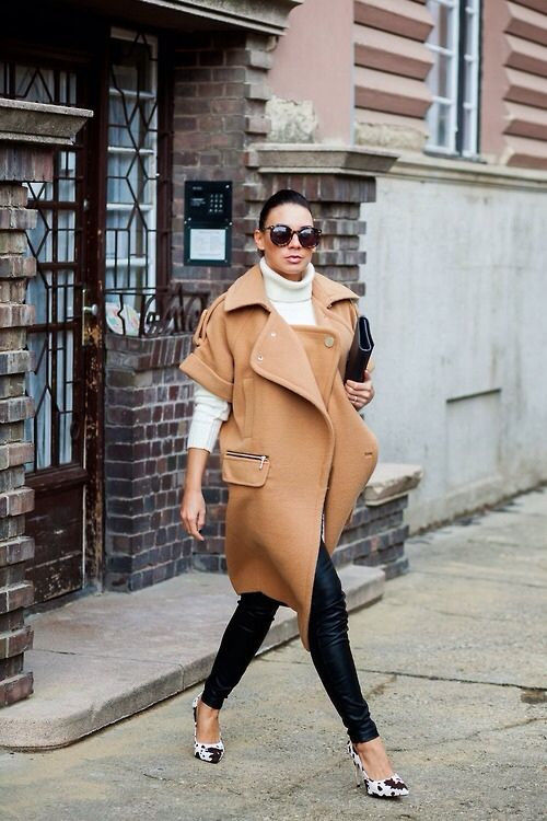 black and white with camel coat. London.