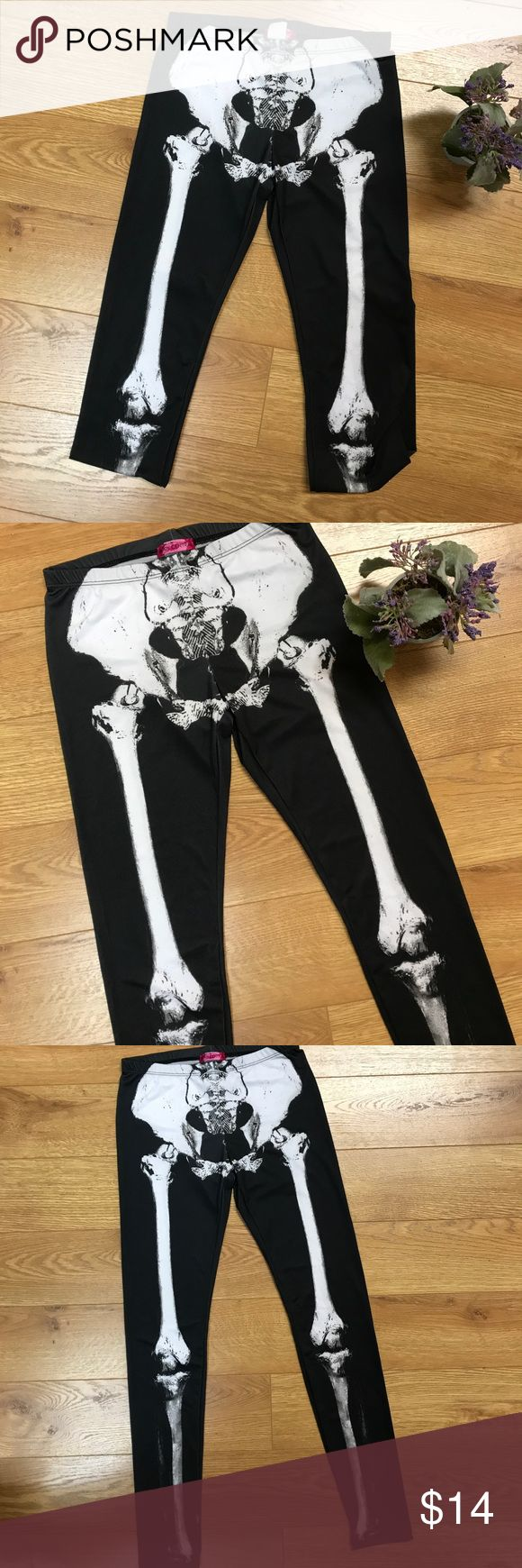 🆕 Skeleton Leggings NWOT Skeleton Leggings size small. These are a little bit sheer...meaning they run very true to size!! If you try to stretch too much they will become see-through. Awesome to layer over tights in cold weather or wear with anything! ✌🏼💛🌻 Body Central Pants Leggings