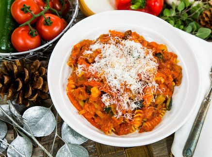 Delicious Sausage and Roasted Vegetable Fusilli Past made by Chef Jet Tila! Don't miss Home & Family weekdays at 10a/9c on Hallmark Channel