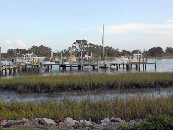 Boat Dock on Taylor's Creek (Waterfront View) near Front Street in Beaufort, NC.