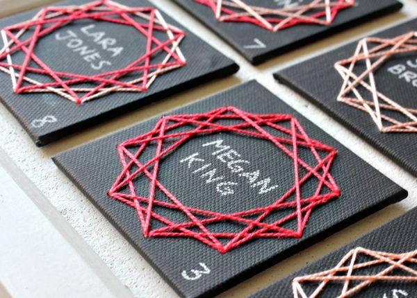 DIY Geometric String Art Escort Cards