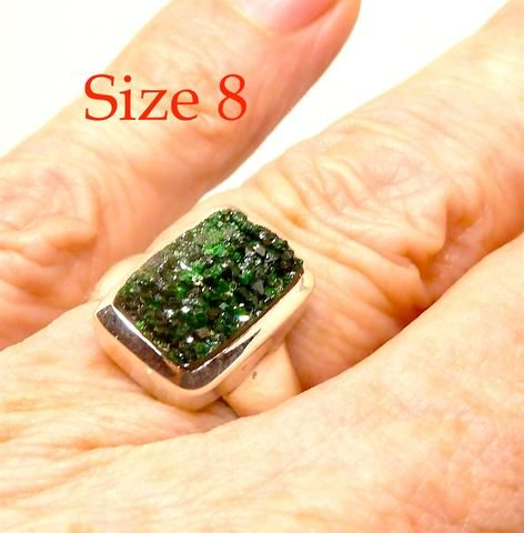Uvarovite Cluster Ring | 925 Sterling Silver | Rare example of bright green Garnet | Nice Crystals | US Size 8 | Crystal Heart Melbourne Australia since 1986