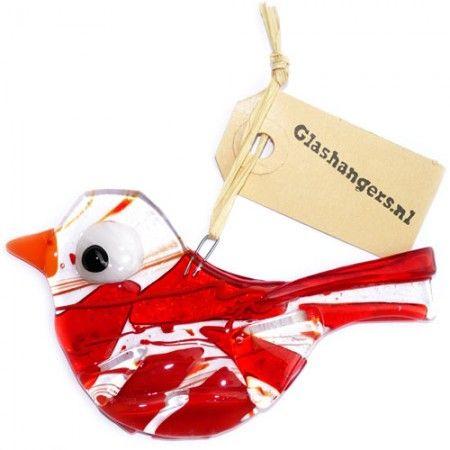 Handgemaakte glazen vogel van rode glassoorten! Unieke decoratie hanger voor huis en tuin.