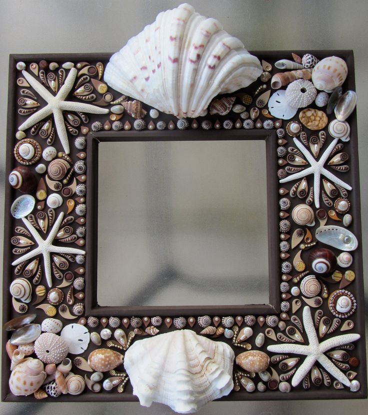 Cottage Chic Shells Beach Theme Mirror OOAK Custom Made Hand Crafted Wall Art Wall Decor Mirror Vintage Inspired Shabby Chic