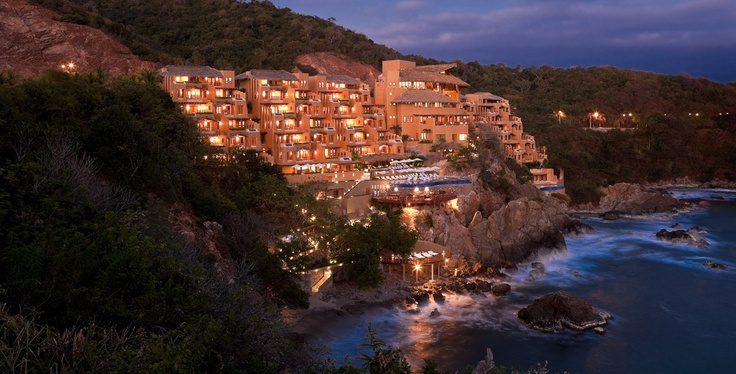 Capella Ixtapa Resort and Spa. Ixtapa, Mexico. Built into a craggy cliff, infinity pool on every terrace.