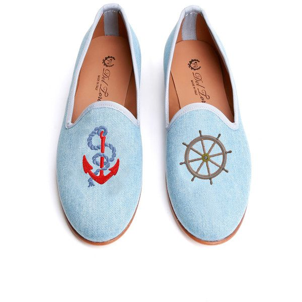 Del Toro Prince Albert Nautical Slipper Loafers (2.345 HRK) ❤ liked on Polyvore featuring shoes, flats, baby blue, leather sole shoes, striped flats shoes, del toro shoes, embroidered shoes and loafer shoes