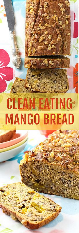 This Clean Eating Mango Bread is super moist, very dense, and full of crunchy walnut pieces. It's healthy and very easy to make. Perfect as a snack.