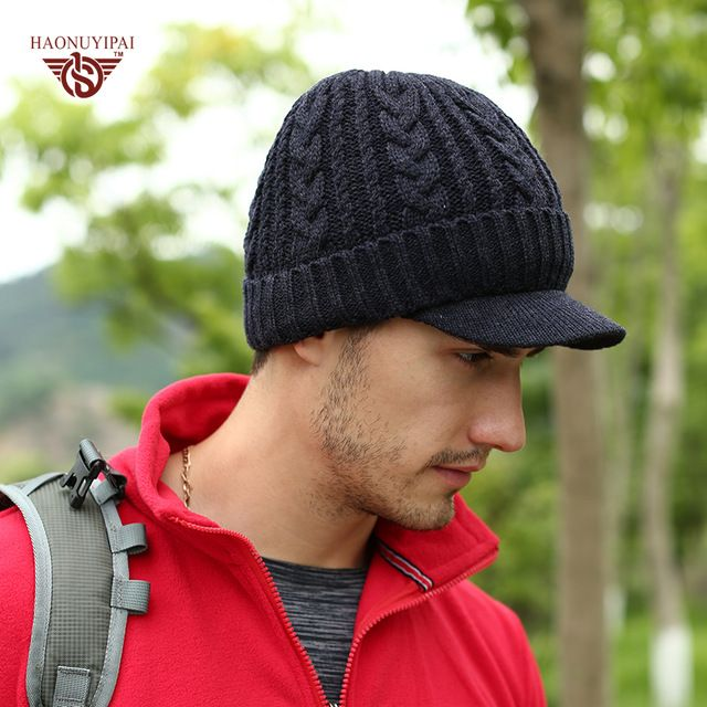 Deal Today $5.99, Buy Brand New Winter Skullies Beanies With Brim For Men Women Fashion HNYP Cap Keep Warm Snow Hat Unisex Cheap Discount