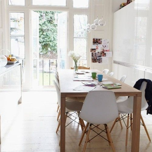 Eiffel chairs, wood baseDining Rooms, Kitchens Chairs, Lights Fixtures, Eames Chairs, Teas Lights, Kitchens Tables, Modern Dining Room, Wood Tables, Side Chairs