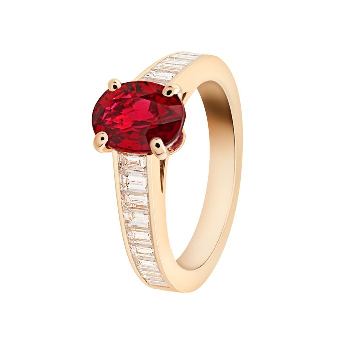 "Brides.com: 71 Engagement Rings with Colorful Stones. ""Menuet"" ring featuring 2.10-carat oval-shaped ruby and diamonds set in 18K yellow gold, price upon request, Van Cleef & Arpels  See more Van Cleef & Arpels engagement rings."