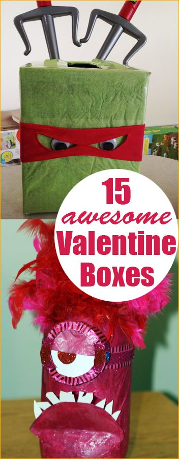 Creative Valentine Boxes. Fun ways for the kids to collect their Valentines. Great ideas for both boys and girl.