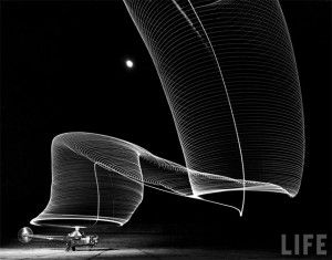 Andreas Feininger: Light Painting Photography, 1949  In February 1949 another Life Magazine photographer created some light painting photographs. In 1939 photographer, Andreas Feininger, immigrated to the United States. In 1943 he joined the staff of Life Magazine and in 1949 Andreas was on assignment in Anacostia, Maryland, Feininger set his camera up on a tripod, opened the shutter and produced light painting photographs of helicopters taking off and landing.  Sikorsky