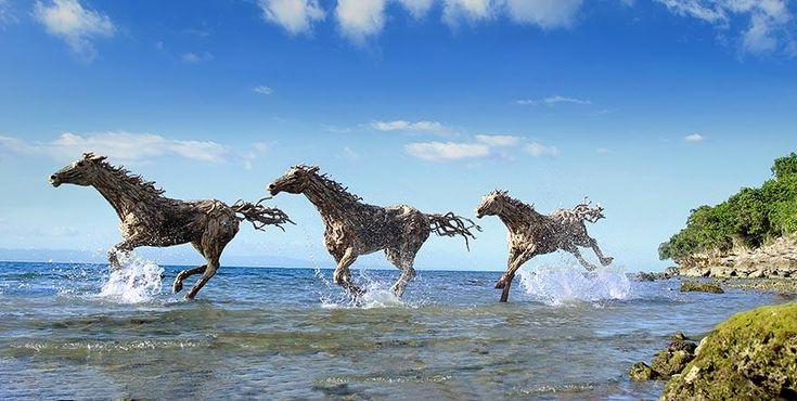 L'artiste James Doran-Webb nous dévoile cet esprit brut d'évasion avec ces sculptures de chevaux sauvages entièrement faites de morceaux de bois flottés. Sculptés, fasconnés par l'eau et les vagues, ces morceaux de bois se prêtent parfaitement aux caratéristiques des chevaux au galop.
