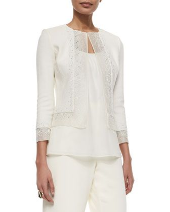 Beaded Organza-Trimmed Boucle Jacket by St. John Collection at Neiman Marcus.