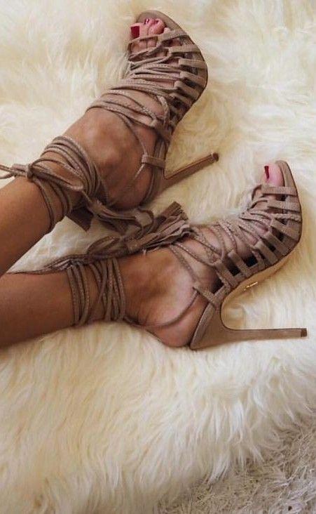 Camel Lace Up Sandals                                                                             Source