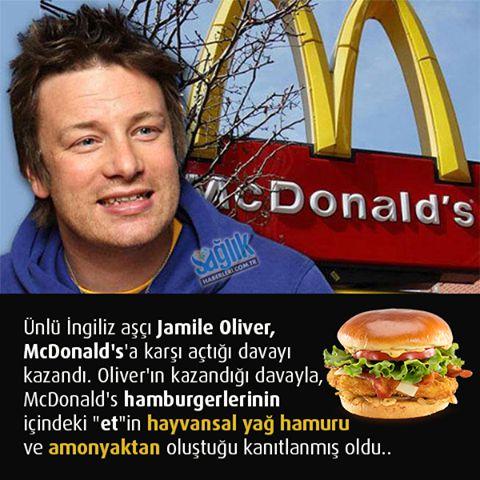 Ünlü İngiliz aşçı Jamie Oliver, dünyanın en büyük restoran zincirlerinden biri olan McDonald's şirketine karşı açtığı sansasyonel davayı kazandı. Ünlü şef bu davayla, McDonald's fast food zincirinin gerçek et yerine, kasaplık hayvanın kesiminden geriye kalan et, tendon, yağ ve bağ doku karışımından oluşan macun kıvamındaki bir hamur ile amonyak kullandığını kanıtlamış oldu.#sağlık #saglik #sağlıkhaberleri #health #healthnews @saglikhaberleri