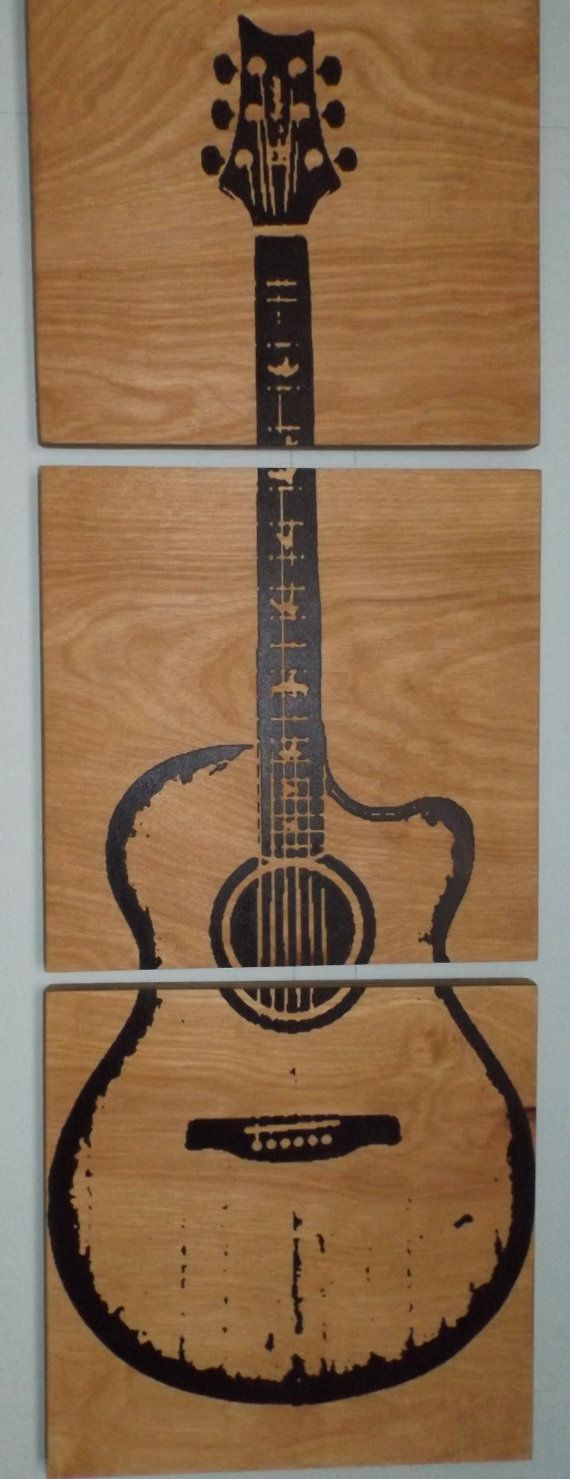 17 best ideas about wood wall art on pinterest wood art for Acoustic guitar decoration