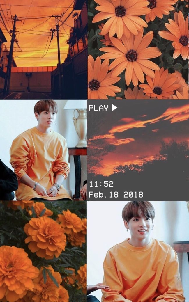 Jungkook Orange Collage Moodboard Aesthetic Wallpaper