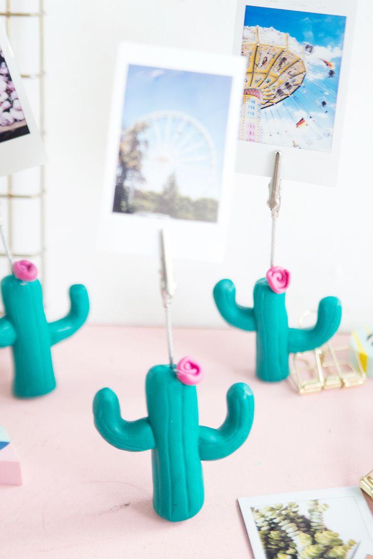 Kreative DIY Geschenk-Idee selbermachen: Kaktus-Fotohalter für Instax Fotos aus Fimo selbstgemacht | DIY Tutorial mit Step by Step Anleitung | Kaktus DIY | Instax DIY | DIY Geschenk