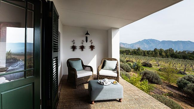 Relax in the cosy guest suite at Galenia. Look out over the olives grove to the majestic mountains