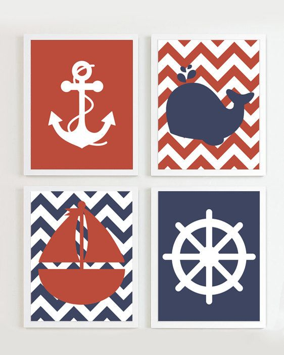INSTANT DOWNLOAD -Chevron Nautical Navy Red set of 4 each Beach Ocean Sea more colors available